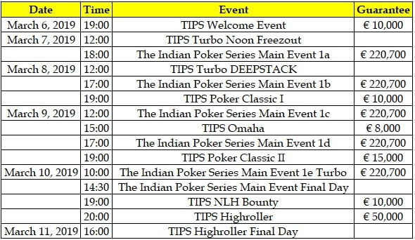 TIPS2 Winter Edition Schedule