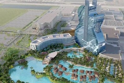 The new Guitar-shaped Hotel tower of Seminole Hard Rock Hollywood