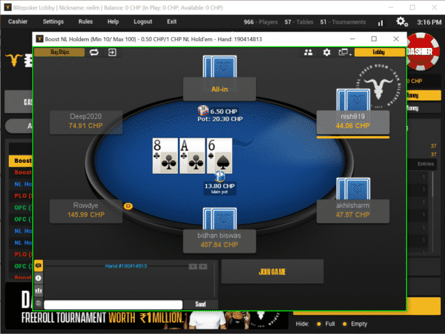 BLITZPOKER Table Desktop